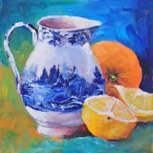 Blue Jug with Oranges